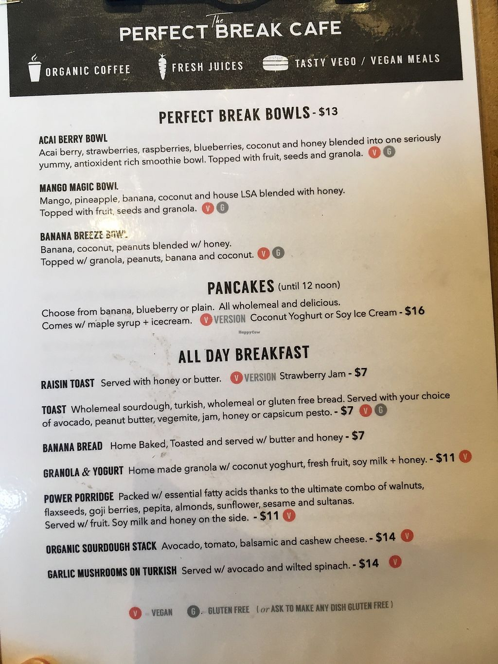 """Photo of Perfect Break Vegetarian Cafe  by <a href=""""/members/profile/Mslanei"""">Mslanei</a> <br/>menu 1 <br/> July 14, 2017  - <a href='/contact/abuse/image/12930/280083'>Report</a>"""