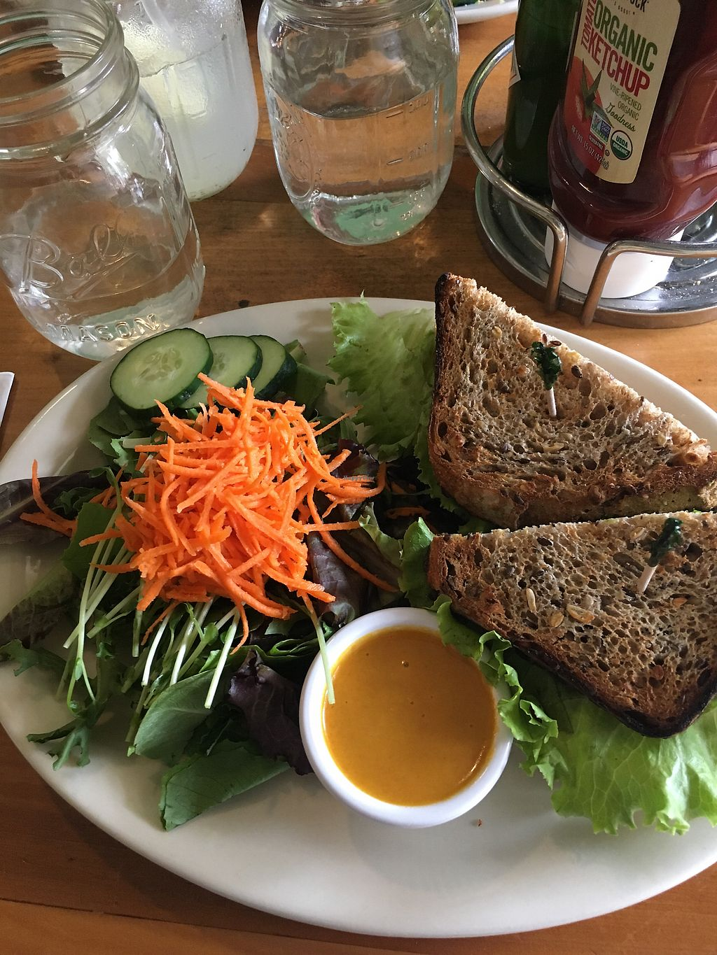 """Photo of Green Bean  by <a href=""""/members/profile/HannahKantor"""">HannahKantor</a> <br/>veggie blt and fresh house salad with carrot ginger dressing.  <br/> August 31, 2017  - <a href='/contact/abuse/image/12942/299261'>Report</a>"""