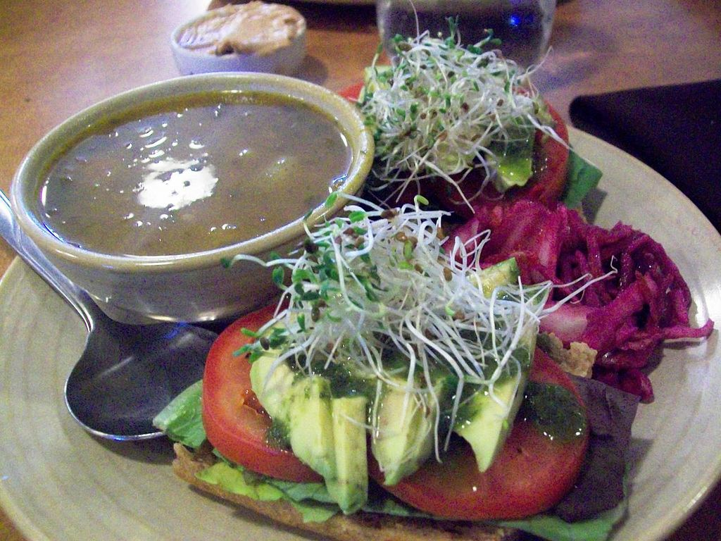 Photo of Heartwood Bakery & Cafe - Quinpool Rd  by Eco Cay <br/>Avocado and tomato sandwich with chickpea veggie soup! Beyond delicious!!  <br/> May 2, 2014  - <a href='/contact/abuse/image/1294/69173'>Report</a>
