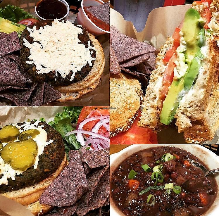 """Photo of Middle Way Cafe  by <a href=""""/members/profile/ErinElizabeth907"""">ErinElizabeth907</a> <br/>Burger, soup and avocado melt <br/> November 22, 2017  - <a href='/contact/abuse/image/12993/328211'>Report</a>"""