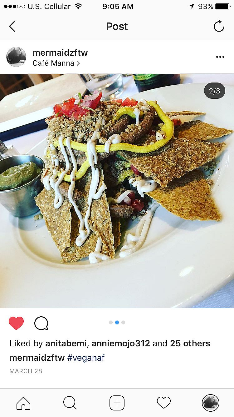 "Photo of Cafe Manna  by <a href=""/members/profile/mpopp000"">mpopp000</a> <br/>raw nachos  <br/> July 1, 2017  - <a href='/contact/abuse/image/13050/275640'>Report</a>"