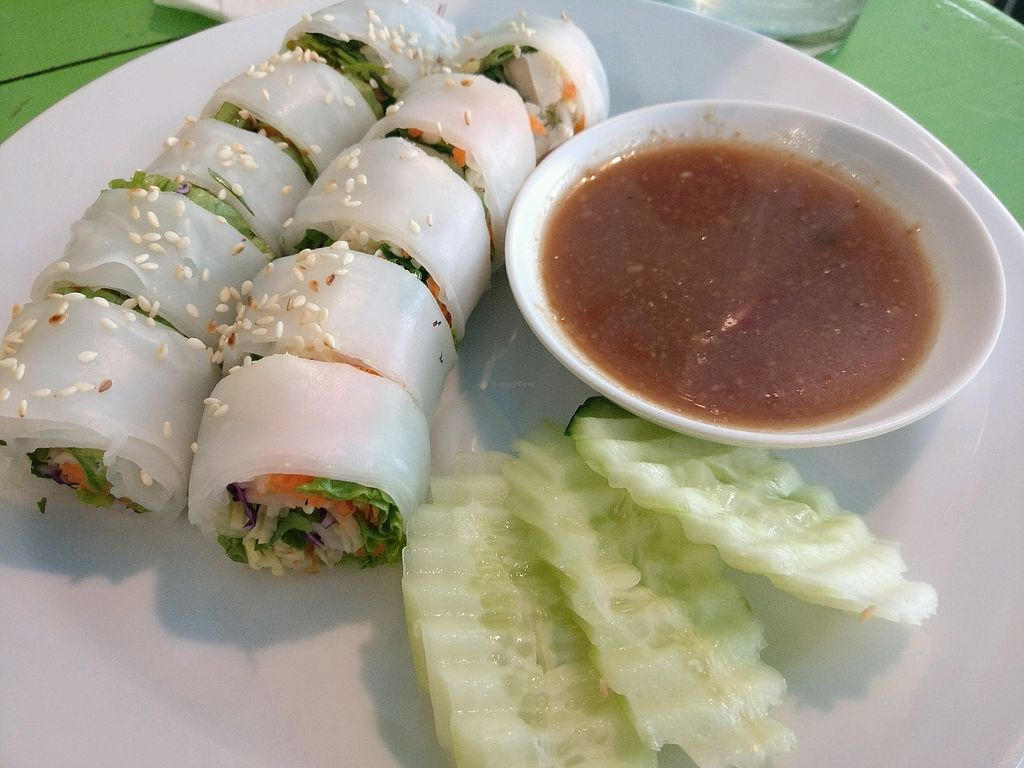 """Photo of May Kaidee's Vegetarian Restaurant  by <a href=""""/members/profile/cdnvegan"""">cdnvegan</a> <br/>Fresh thai roll <br/> February 9, 2018  - <a href='/contact/abuse/image/13082/356618'>Report</a>"""