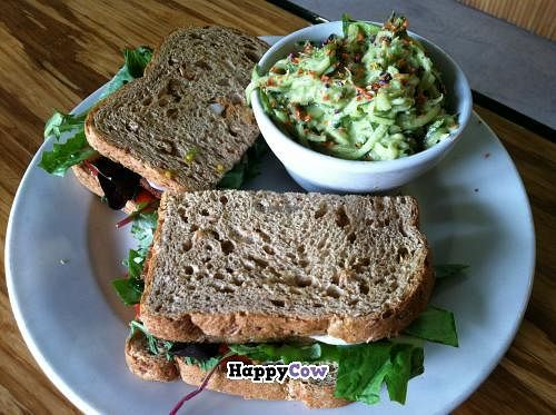 "Photo of Papa G's Vegan Organic Deli  by <a href=""/members/profile/spiffysavannah"">spiffysavannah</a> <br/>TLT- Tempeh, lettuce, and tomato on cracked wheat with a side of zucchini salad with olive oil, lemon juice, and cashew dressing! <br/> September 2, 2013  - <a href='/contact/abuse/image/13084/54234'>Report</a>"