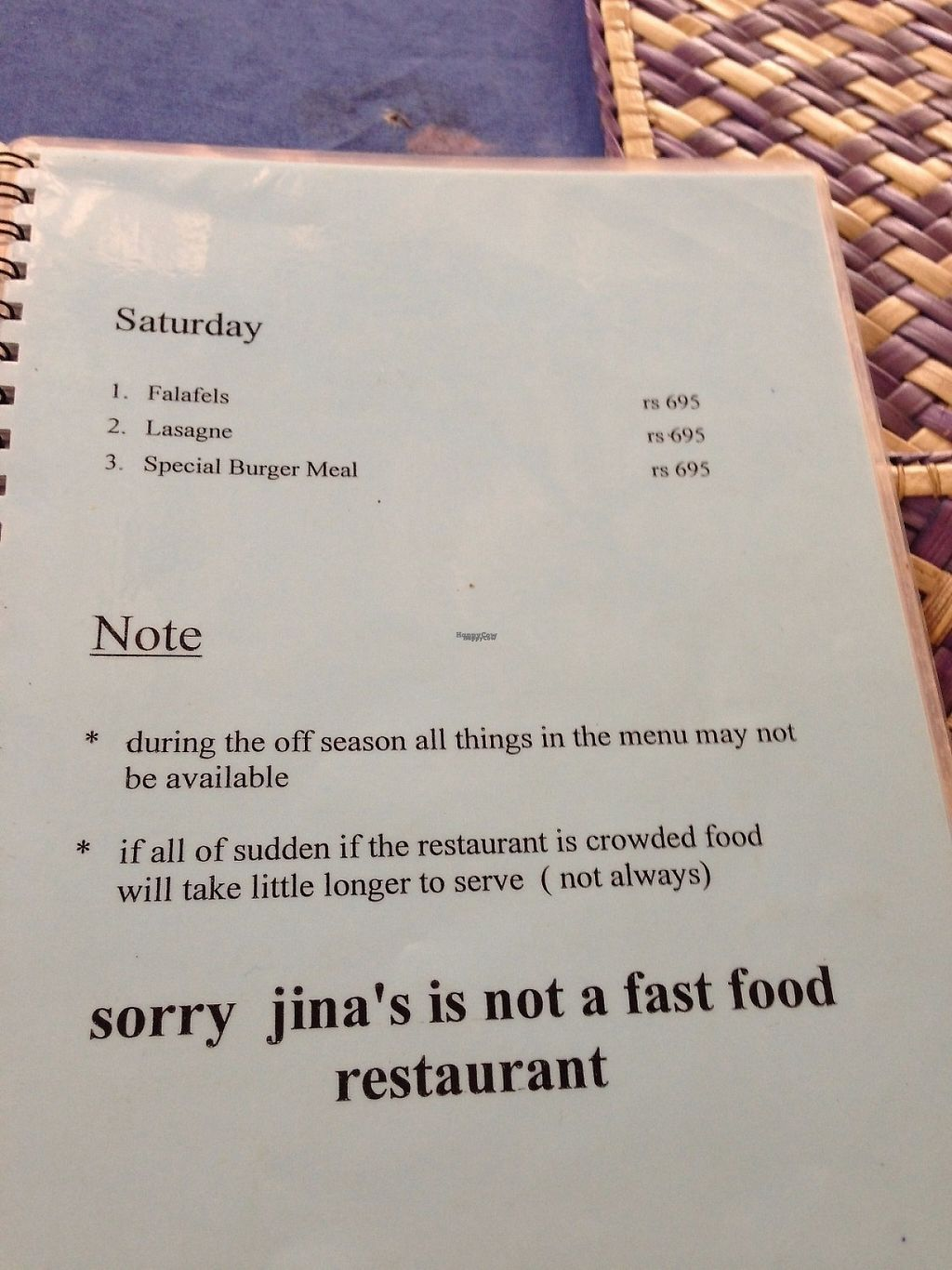 """Photo of Jina's  by <a href=""""/members/profile/CatDouglas"""">CatDouglas</a> <br/>Jina's menu <br/> December 4, 2016  - <a href='/contact/abuse/image/13220/197134'>Report</a>"""