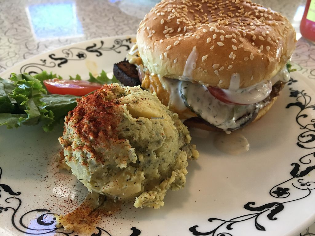 """Photo of Spiral Diner and Bakery  by <a href=""""/members/profile/dlachica"""">dlachica</a> <br/>Bacun cheeseburger with ranch!  Added avocado. Side of potato salad.  <br/> September 9, 2017  - <a href='/contact/abuse/image/13232/302718'>Report</a>"""