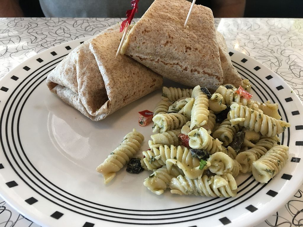 """Photo of Spiral Diner and Bakery  by <a href=""""/members/profile/dlachica"""">dlachica</a> <br/>Sweet Luv n hummus. Sweet potato and hummus wrap. Pasta salad side.  <br/> September 9, 2017  - <a href='/contact/abuse/image/13232/302719'>Report</a>"""