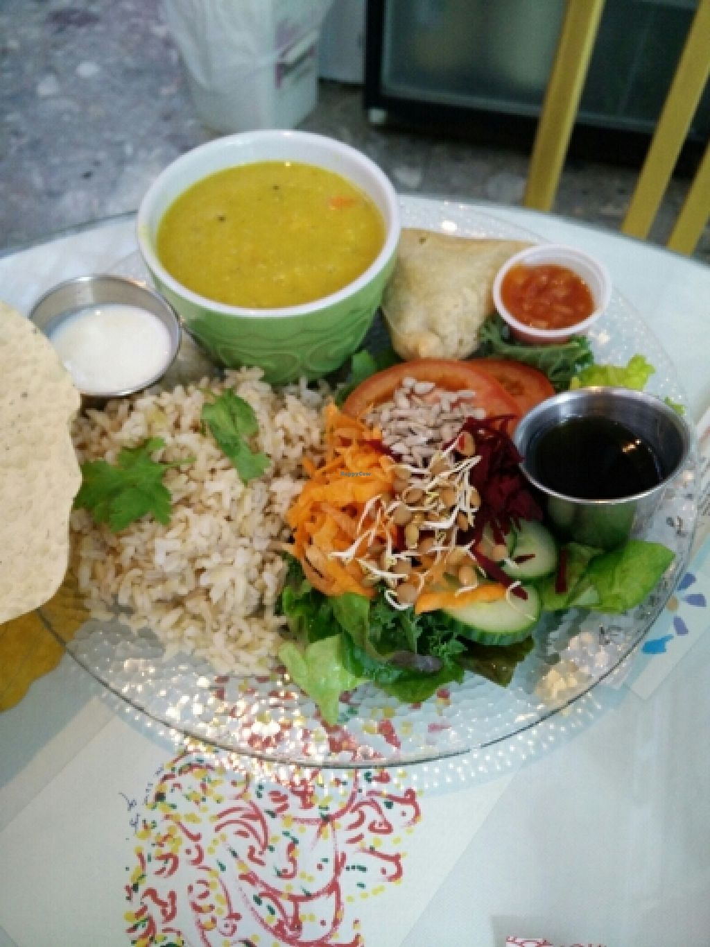 """Photo of Peace-Garden  by <a href=""""/members/profile/GrilledEverything"""">GrilledEverything</a> <br/>Dal with samosa, salad, rice <br/> March 12, 2016  - <a href='/contact/abuse/image/1329/139708'>Report</a>"""