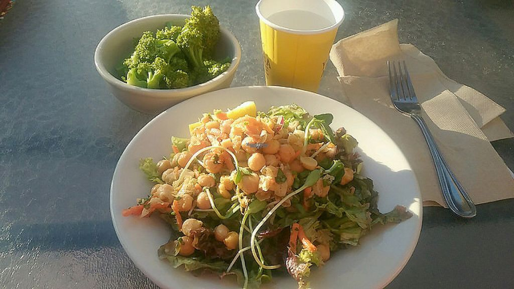 """Photo of Food and Thought  by <a href=""""/members/profile/mshelene"""">mshelene</a> <br/>Chickpea and sprout salad. Plus broccoli which was their vegetable of the day <br/> April 12, 2017  - <a href='/contact/abuse/image/13329/247315'>Report</a>"""