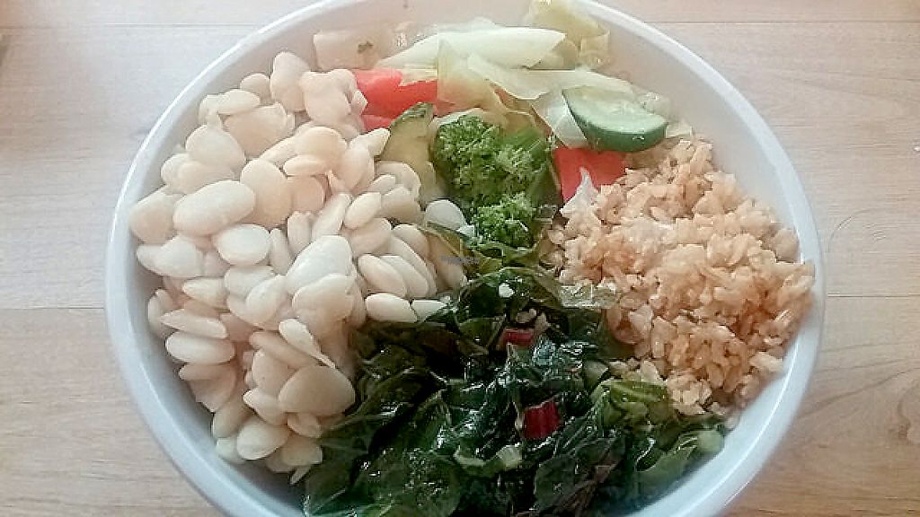 """Photo of Food and Thought  by <a href=""""/members/profile/mshelene"""">mshelene</a> <br/>I requested that they put 4 different sides in the same bowl (I had lima beans, steamed greens, tomato brown rice, and vegetables) <br/> April 21, 2017  - <a href='/contact/abuse/image/13329/250704'>Report</a>"""