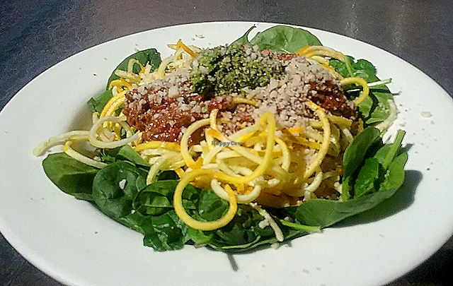 """Photo of Food and Thought  by <a href=""""/members/profile/mshelene"""">mshelene</a> <br/>Raw vegan meal of the day: Raw spaghetti (spiralized veggies with tomato sauce and pesto sauce over a bed or spinach) <br/> April 9, 2018  - <a href='/contact/abuse/image/13329/383085'>Report</a>"""