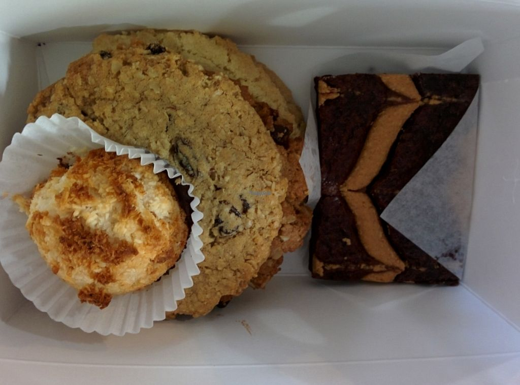 """Photo of Sweetpea Baking Company  by <a href=""""/members/profile/MizzB"""">MizzB</a> <br/>Strawberry lemon muffin, peanut butter brownie, cookies: oatmeal raisin, chocolate chip, peanut butter, snickerdoodle <br/> October 3, 2016  - <a href='/contact/abuse/image/13334/179448'>Report</a>"""