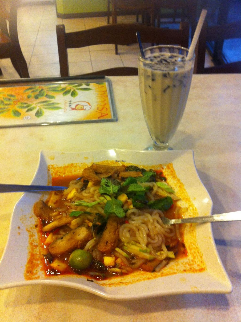 "Photo of Cameleon Vegetarian Bean Curd  by <a href=""/members/profile/yeloveit"">yeloveit</a> <br/>Vagan Curry Laksa and soy milk drink with jelly <br/> June 11, 2015  - <a href='/contact/abuse/image/13338/105410'>Report</a>"