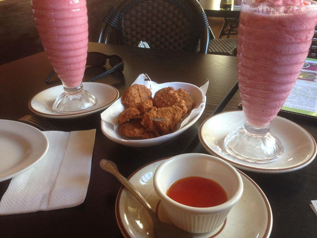 """Photo of CLOSED: The Vegan House  by <a href=""""/members/profile/Norrik"""">Norrik</a> <br/>nuggets with strawberry milkshake  <br/> April 21, 2017  - <a href='/contact/abuse/image/13377/250670'>Report</a>"""