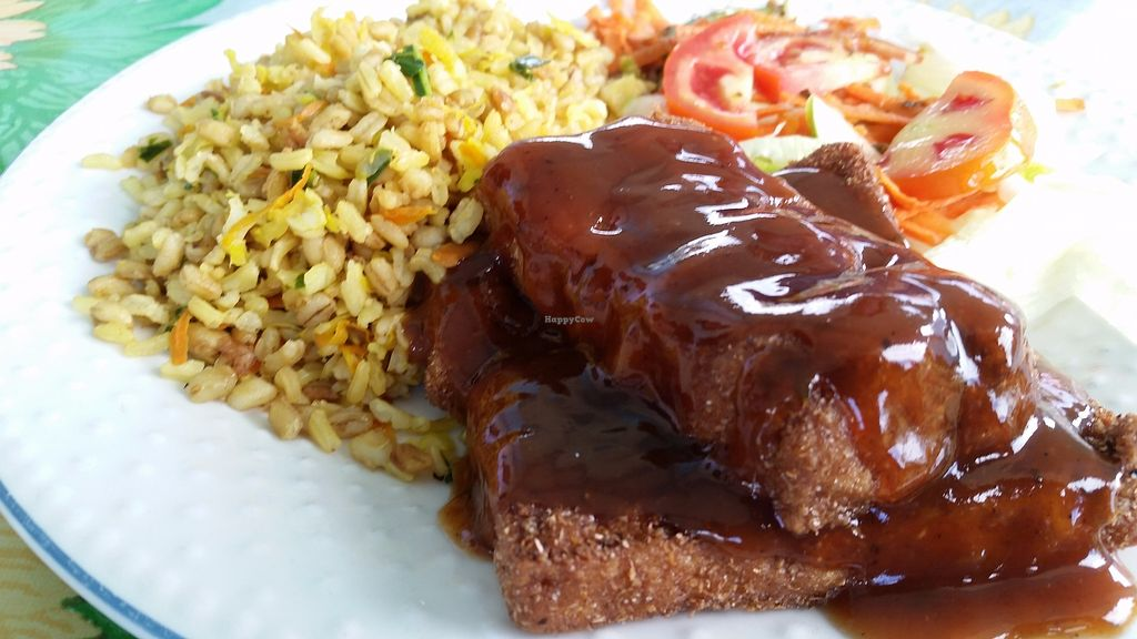 "Photo of Gomier's  by <a href=""/members/profile/rainforestspirit4"">rainforestspirit4</a> <br/>BBQ fried tofu with rice and salad <br/> July 25, 2017  - <a href='/contact/abuse/image/13425/284519'>Report</a>"