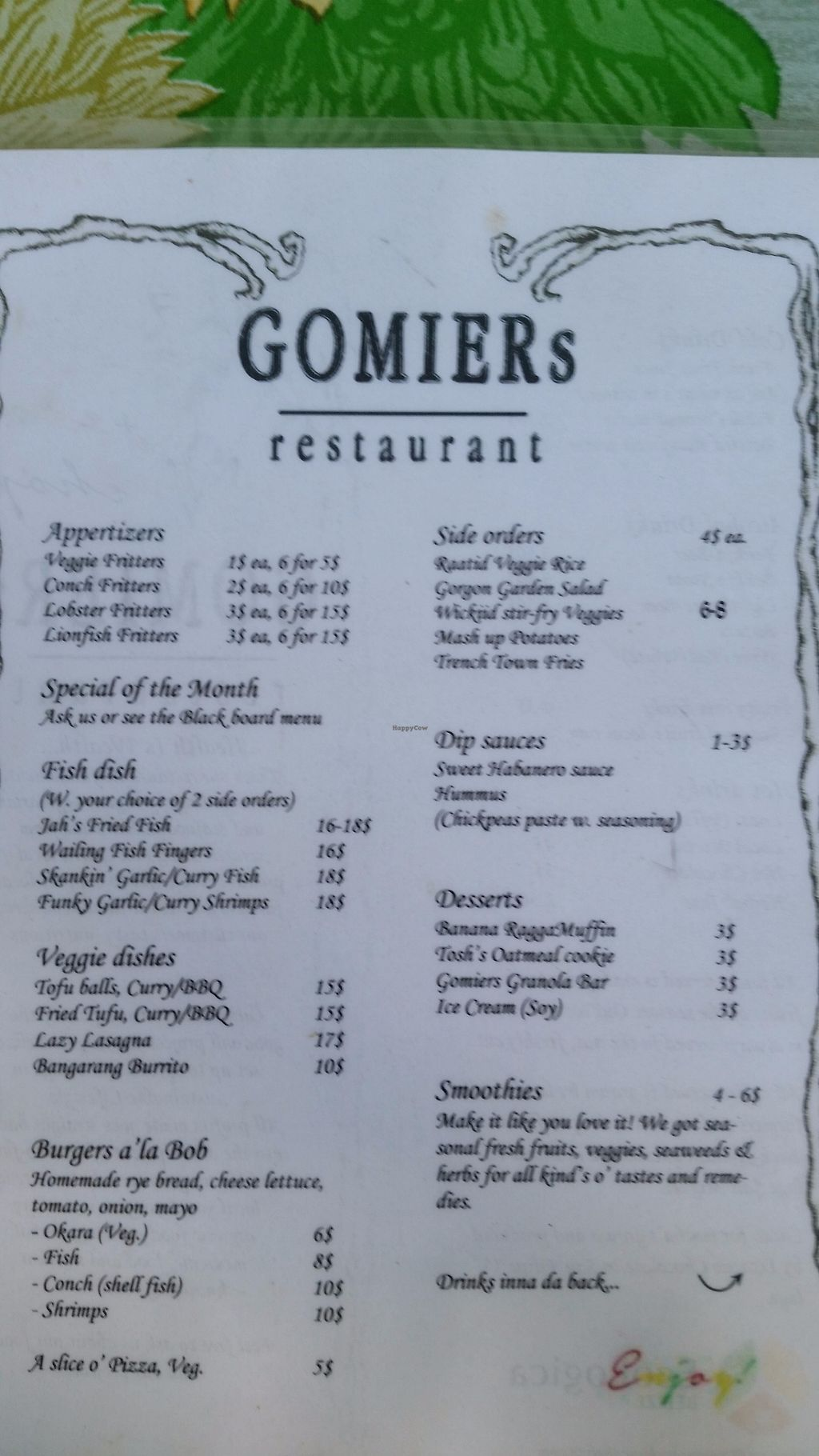 "Photo of Gomier's  by <a href=""/members/profile/rainforestspirit4"">rainforestspirit4</a> <br/>Current menu as of July 2017, side one <br/> July 25, 2017  - <a href='/contact/abuse/image/13425/284521'>Report</a>"