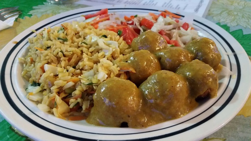 "Photo of Gomier's  by <a href=""/members/profile/rainforestspirit4"">rainforestspirit4</a> <br/>Tofu balls with curry, rice, and salad <br/> July 25, 2017  - <a href='/contact/abuse/image/13425/284523'>Report</a>"