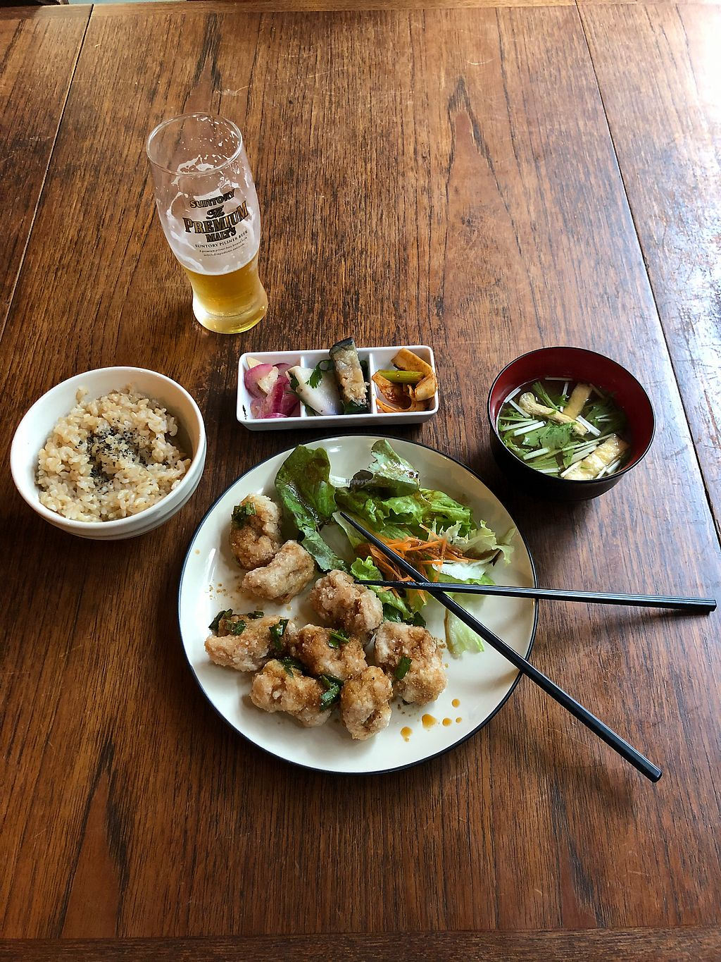 "Photo of Nagi Shokudo  by <a href=""/members/profile/Timbro"">Timbro</a> <br/>Delicious vegan mean. Nagi A with lunch beer! Perfect tokyo hole in the wall and gracious and welcoming server and chef!  <br/> April 14, 2018  - <a href='/contact/abuse/image/13435/385549'>Report</a>"