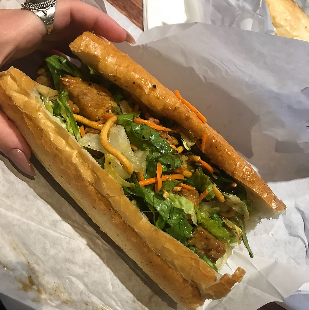 """Photo of Half Fast Subs  by <a href=""""/members/profile/Raina11"""">Raina11</a> <br/>Thai tempeh Sandwhich. (basically a Thai salad with tempeh in a baguette) <br/> November 17, 2017  - <a href='/contact/abuse/image/13477/326562'>Report</a>"""