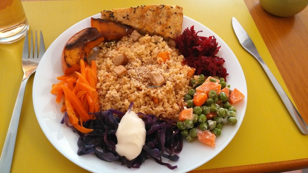 """Photo of Semente  by <a href=""""/members/profile/Anticopy"""">Anticopy</a> <br/>Roasted pumpkin,  shredded veggies w/vegan mayo, bulgur and smoked tofu and a salted pie <br/> February 18, 2018  - <a href='/contact/abuse/image/13532/361010'>Report</a>"""