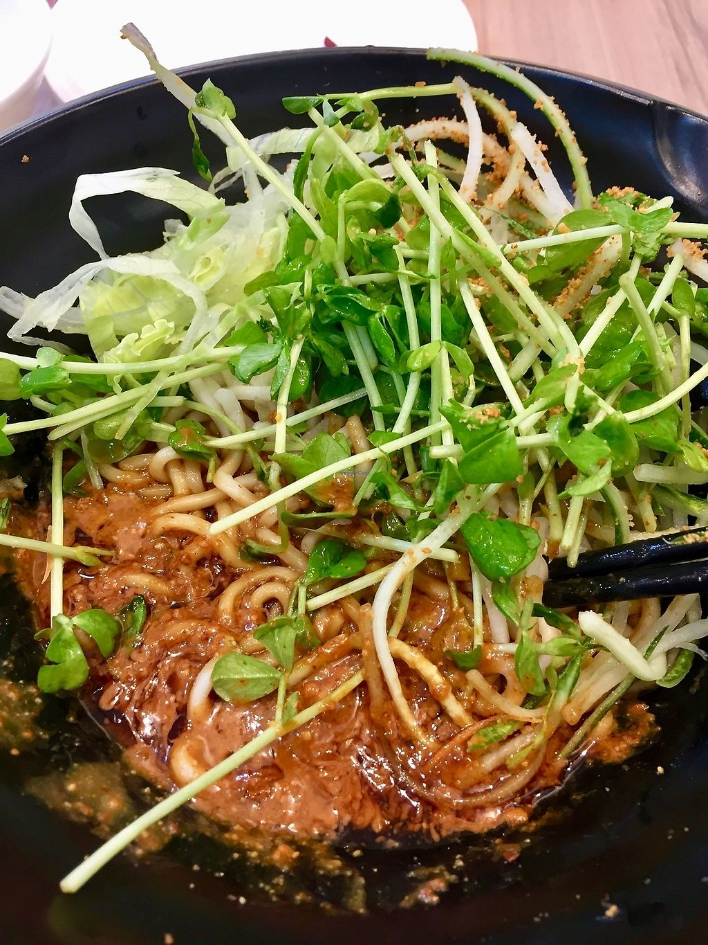 """Photo of Yes Natural Restaurant  by <a href=""""/members/profile/lindyhan"""">lindyhan</a> <br/>Chef's recommendation - Almond Noodles. Best in Singapore and at only $7 nett! Looks similar to zhajiangmian but beats it hands down anyday. It's noodles in almond butter topped with sprouts and shredded lettuce. Mix well to make the magic! <br/> October 20, 2017  - <a href='/contact/abuse/image/13539/316944'>Report</a>"""
