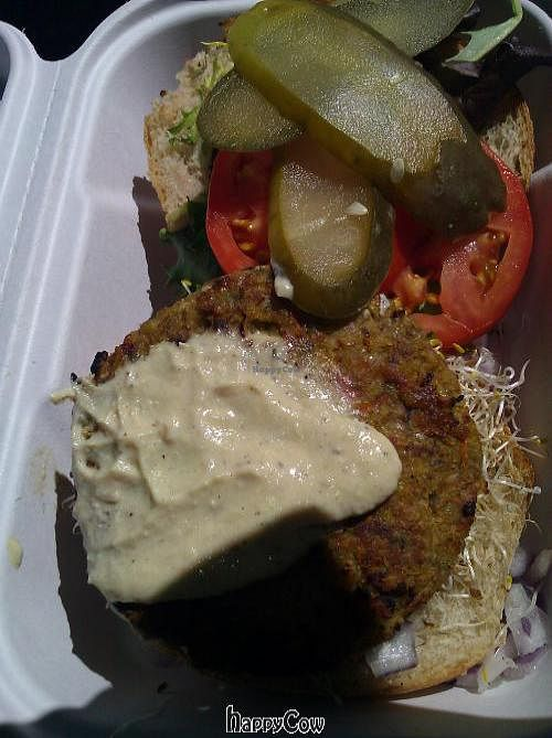 """Photo of Fresh on Bloor  by <a href=""""/members/profile/eric"""">eric</a> <br/>veggie burger to-go <br/> September 15, 2012  - <a href='/contact/abuse/image/1354/37906'>Report</a>"""