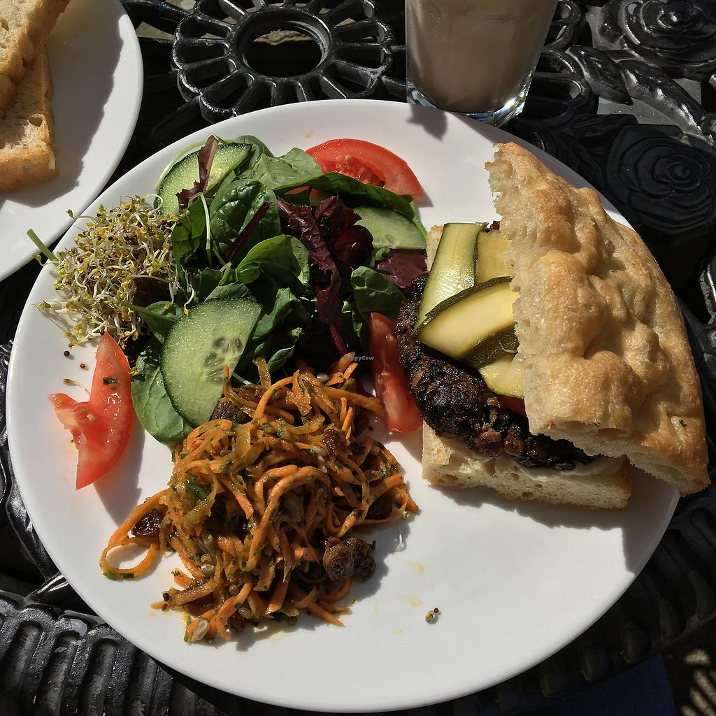 """Photo of Greens Vegetarian Cafe  by <a href=""""/members/profile/EmilyHird"""">EmilyHird</a> <br/>Black bean and portobello mushroom burger with coleslaw and salad  <br/> August 26, 2017  - <a href='/contact/abuse/image/13826/297522'>Report</a>"""