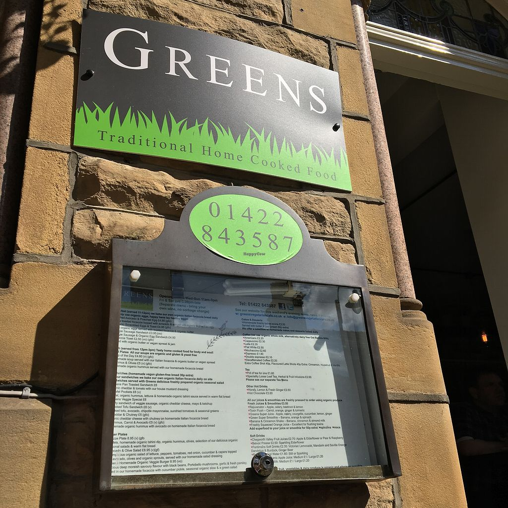 """Photo of Greens Vegetarian Cafe  by <a href=""""/members/profile/EmilyHird"""">EmilyHird</a> <br/>Greens menu <br/> August 26, 2017  - <a href='/contact/abuse/image/13826/297523'>Report</a>"""
