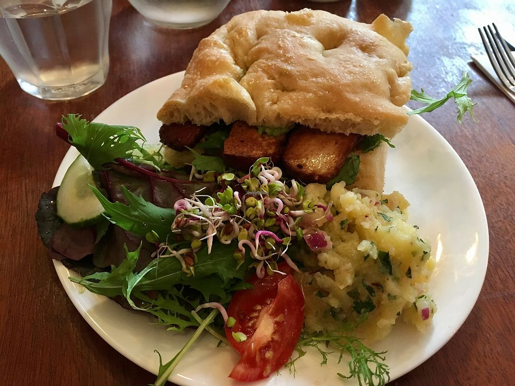 """Photo of Greens Vegetarian Cafe  by <a href=""""/members/profile/katysarah"""">katysarah</a> <br/>Smoked tofu sandwich - lunch menu. Loved the side of potato <br/> October 21, 2017  - <a href='/contact/abuse/image/13826/317430'>Report</a>"""