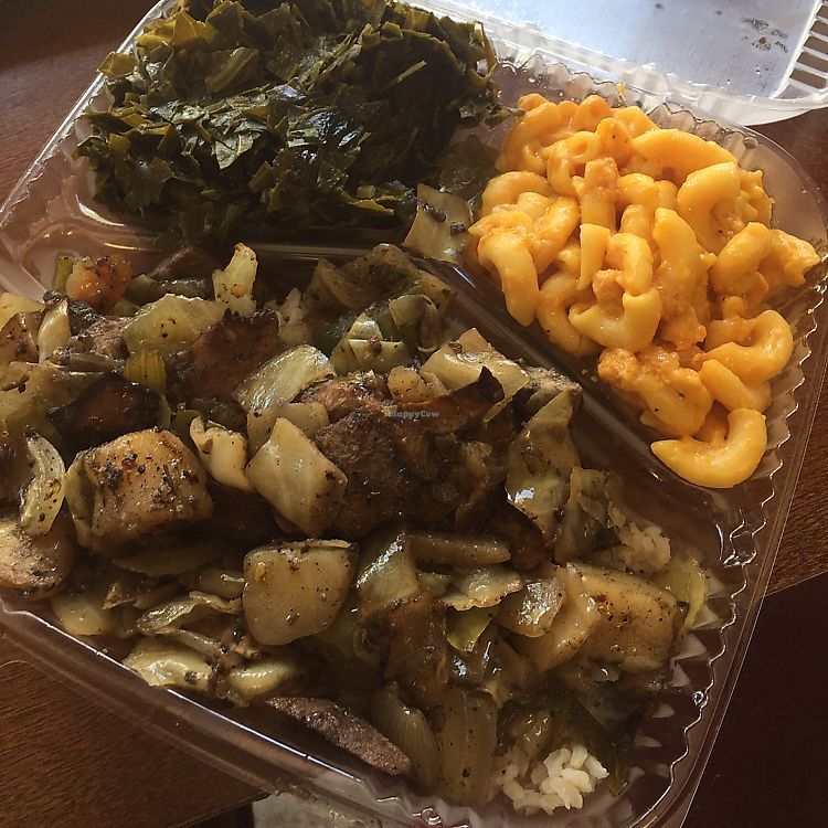 """Photo of Senbeb Cafe  by <a href=""""/members/profile/DesiJay"""">DesiJay</a> <br/>Jerk """"chicken"""" over rice with Mac n cheese and collards  <br/> June 9, 2017  - <a href='/contact/abuse/image/13840/267347'>Report</a>"""