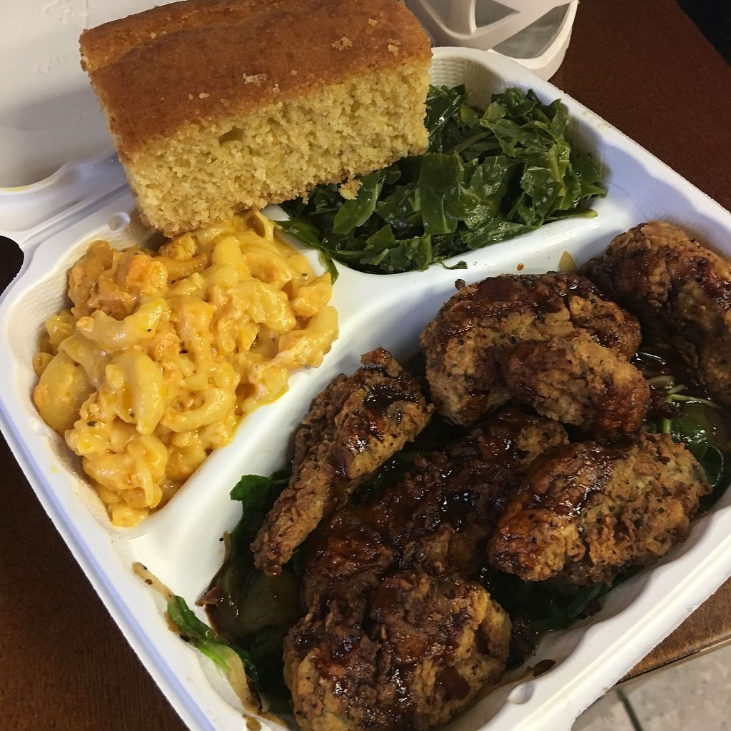"""Photo of Senbeb Cafe  by <a href=""""/members/profile/FruitfullyThriving"""">FruitfullyThriving</a> <br/>Crispy Portabello Mushrooms, Collards, Corn Bread, and THE BEST Mac & Cheese we have EVER tasted!   <br/> September 6, 2017  - <a href='/contact/abuse/image/13840/301637'>Report</a>"""