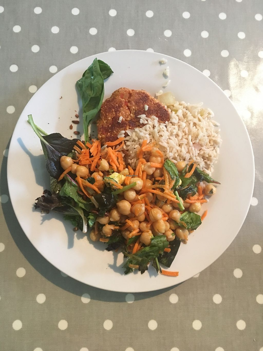 "Photo of The Grove Veggie Kitchen  by <a href=""/members/profile/phashonkat"">phashonkat</a> <br/>The Nut Burger (incredible!!!), chickpea salad and brown rice <br/> July 21, 2017  - <a href='/contact/abuse/image/13869/282846'>Report</a>"