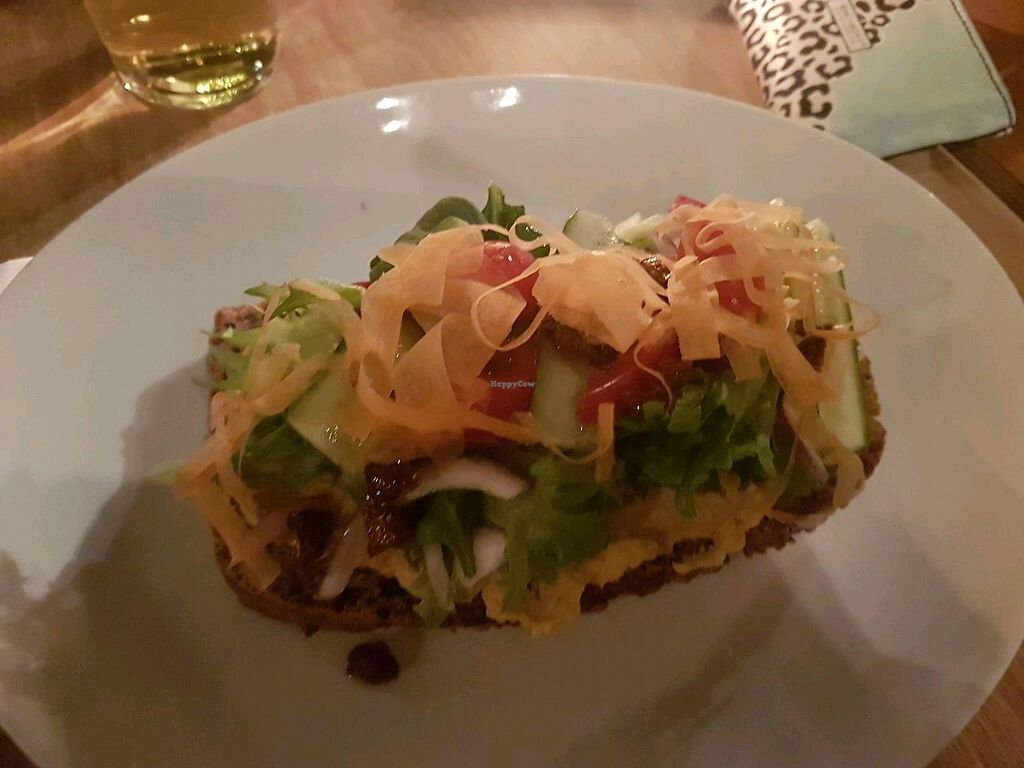 """Photo of Sivertsens Kafe  by <a href=""""/members/profile/JohnParkinson"""">JohnParkinson</a> <br/>Hummus Open Sandwich <br/> January 27, 2018  - <a href='/contact/abuse/image/13897/351665'>Report</a>"""