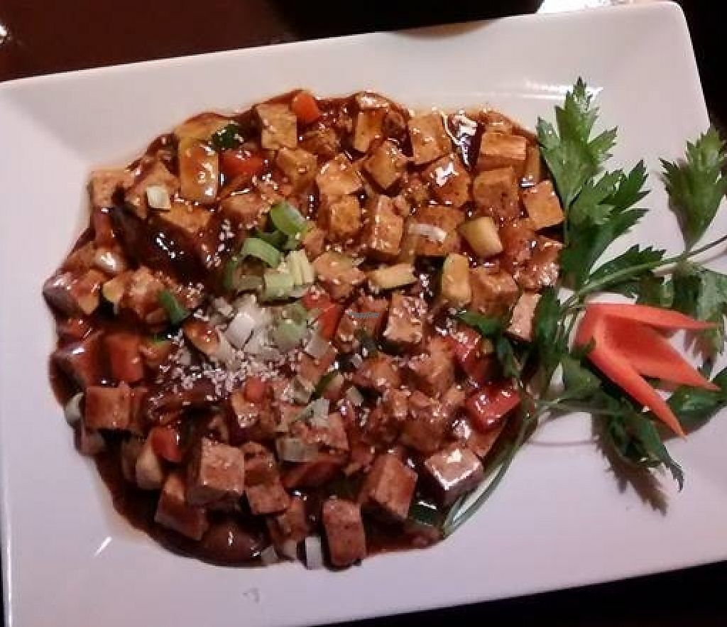 """Photo of Kokyo  by <a href=""""/members/profile/BlisterBlue"""">BlisterBlue</a> <br/>""""Meatballs"""" on top, served with fresh vegetables. Tofu with a mushrooms sauce on the bottom <br/> October 20, 2016  - <a href='/contact/abuse/image/13940/246500'>Report</a>"""