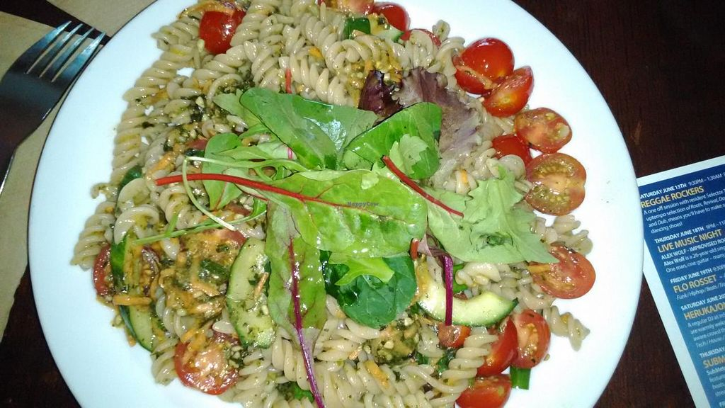 """Photo of CLOSED: InSpiral Lounge  by <a href=""""/members/profile/LilacHippy"""">LilacHippy</a> <br/>Pasta with cashew cheese Parmesan <br/> June 30, 2015  - <a href='/contact/abuse/image/14026/107734'>Report</a>"""