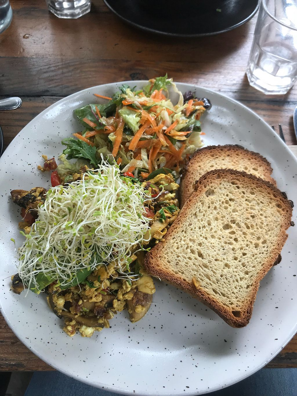 """Photo of Organic Produce Cafe  by <a href=""""/members/profile/LolaNachtigall"""">LolaNachtigall</a> <br/>Tofu Scramble with GF Bread <br/> March 31, 2018  - <a href='/contact/abuse/image/14067/378694'>Report</a>"""