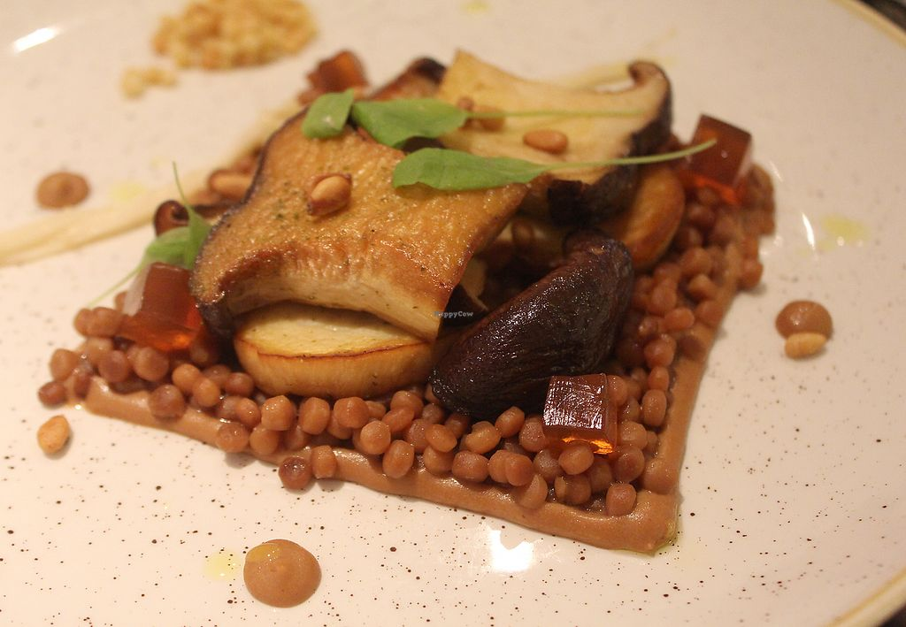 """Photo of Vanilla Black  by <a href=""""/members/profile/kezia"""">kezia</a> <br/>This is the fried Shiitake mushrooms, pine nut purée and crispy couscous.  <br/> December 17, 2017  - <a href='/contact/abuse/image/14093/336554'>Report</a>"""
