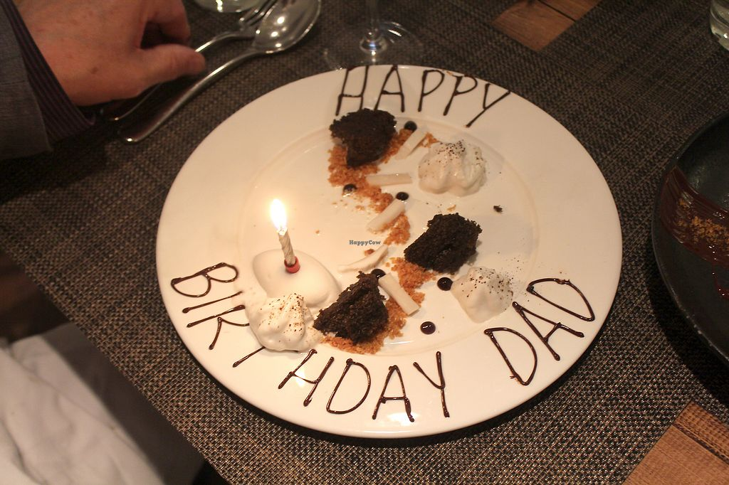 """Photo of Vanilla Black  by <a href=""""/members/profile/kezia"""">kezia</a> <br/> peanut butter cheesecake withcracked cocoa bean and caramelised banana purée Ordered especially for my Dad. Vegan <br/> December 17, 2017  - <a href='/contact/abuse/image/14093/336557'>Report</a>"""