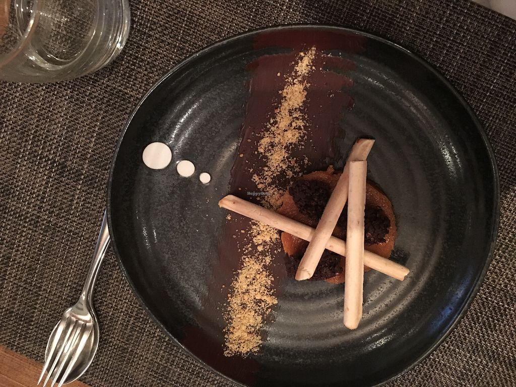 """Photo of Vanilla Black  by <a href=""""/members/profile/AleksJ"""">AleksJ</a> <br/>Sweetcorn Parfait, Miso Butterscotch and Peanut Butter Cookie Peanuts and Sweetcorn Polenta <br/> May 3, 2018  - <a href='/contact/abuse/image/14093/394397'>Report</a>"""