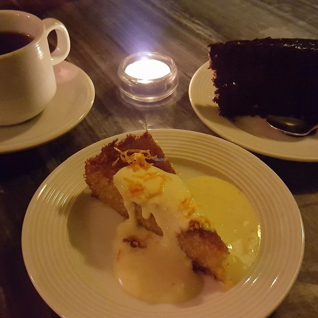 """Photo of Bonnington Cafe  by <a href=""""/members/profile/VeganAnnaS"""">VeganAnnaS</a> <br/>Orange and polenta cake and chocolate cake (£3 each) and coffee (only £1) <br/> March 9, 2017  - <a href='/contact/abuse/image/14101/234643'>Report</a>"""