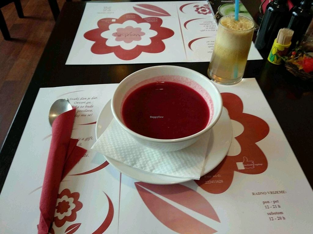 "Photo of Vegehop  by <a href=""/members/profile/maltman23"">maltman23</a> <br/>Beet soup and apple juice at Vegehop <br/> March 26, 2018  - <a href='/contact/abuse/image/14107/376468'>Report</a>"