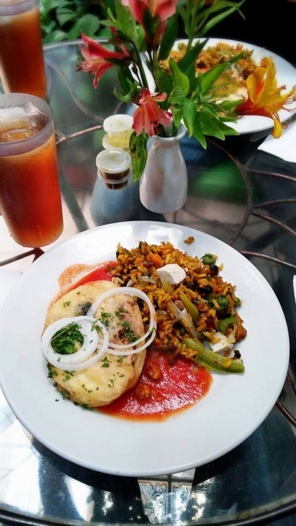 """Photo of Rey Sol  by <a href=""""/members/profile/paxitus"""">paxitus</a> <br/>✔Vegetarian Paella with soy sausage ✔Chile Relleno ✔Cold chamomile tea. Rey Sol Restaurant, the best place to eat healthy. 100% recommended <br/> August 27, 2014  - <a href='/contact/abuse/image/1414/78367'>Report</a>"""