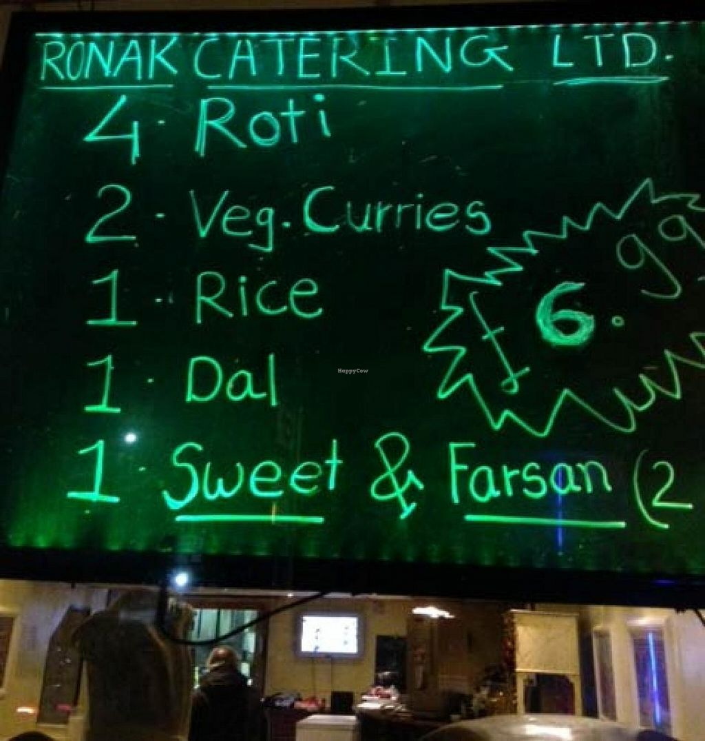 """Photo of Ronak Vegetarian Restaurant  by <a href=""""/members/profile/jon%20active"""">jon active</a> <br/>A Ronak window advert/menu/offer <br/> March 9, 2014  - <a href='/contact/abuse/image/14186/65558'>Report</a>"""