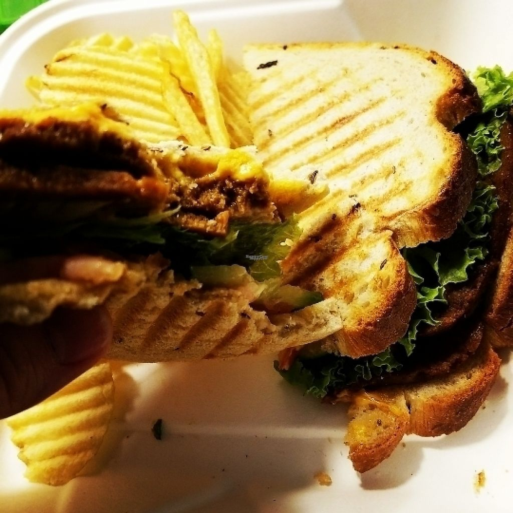 """Photo of Strong Hearts Cafe  by <a href=""""/members/profile/ehubert"""">ehubert</a> <br/>Cajun seitan sandwich with chips  <br/> March 24, 2017  - <a href='/contact/abuse/image/14197/240099'>Report</a>"""
