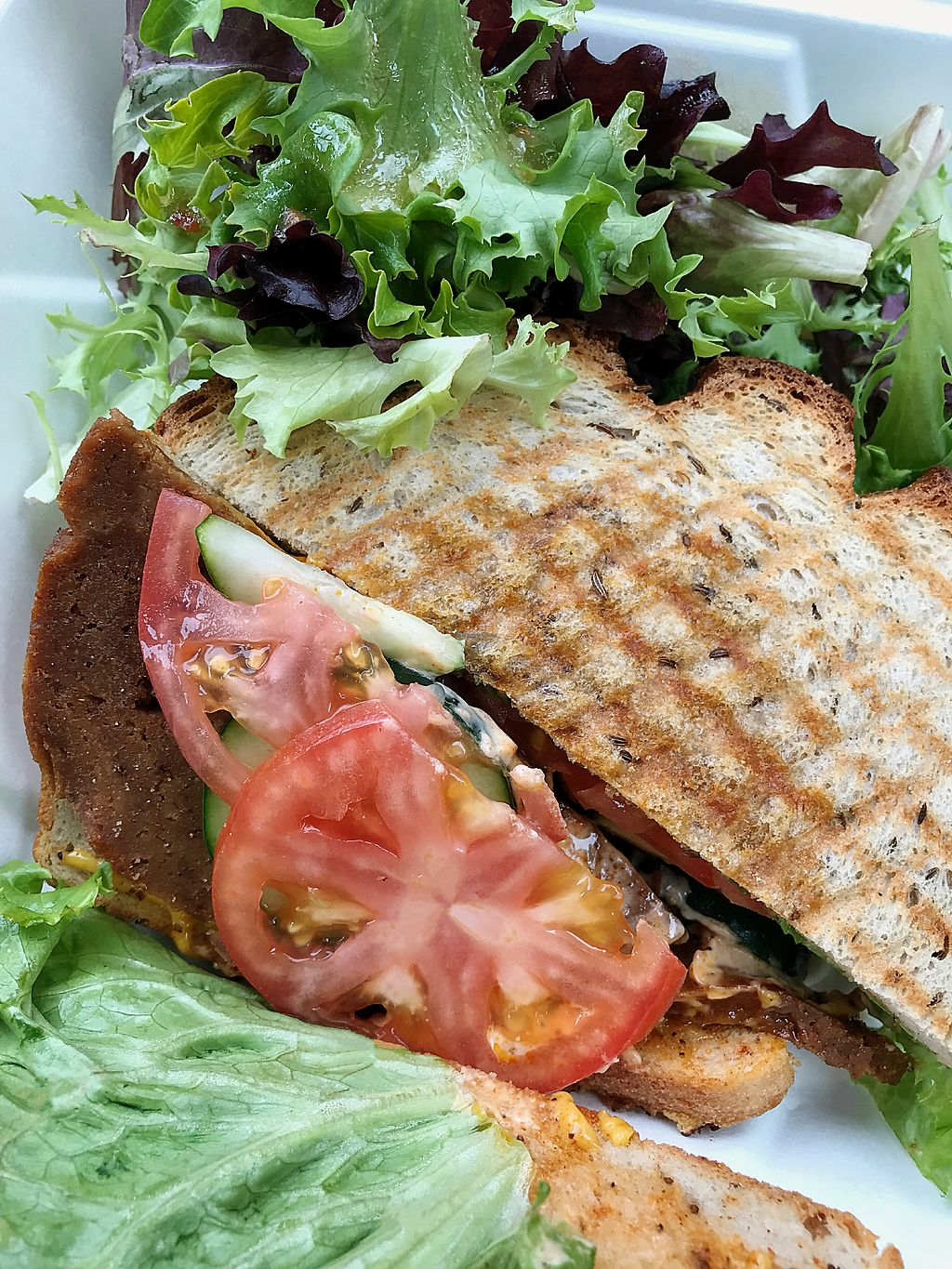 """Photo of Strong Hearts Cafe  by <a href=""""/members/profile/Dimanta"""">Dimanta</a> <br/>Seitan Sandwich was 3/5 <br/> March 14, 2018  - <a href='/contact/abuse/image/14197/370353'>Report</a>"""