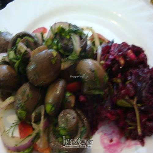 """Photo of Troitsky Most - Nab Reki Moyki  by <a href=""""/members/profile/Sonja%20and%20Dirk"""">Sonja and Dirk</a> <br/>marinated mushrooms and beet salad <br/> July 30, 2011  - <a href='/contact/abuse/image/14243/9873'>Report</a>"""