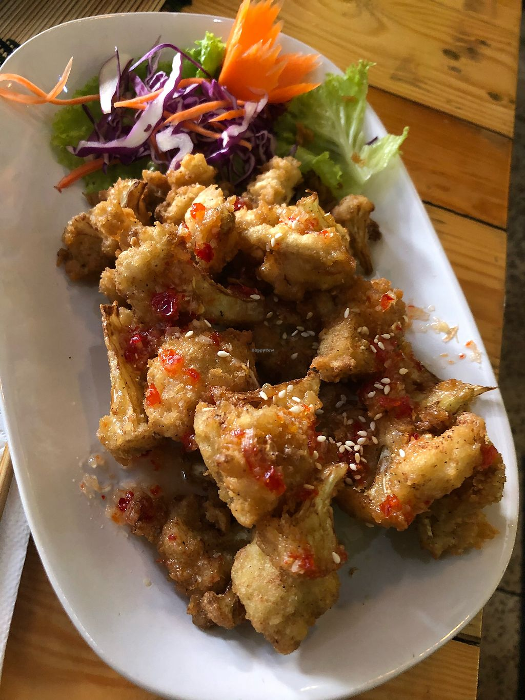 """Photo of Taste from Heaven  by <a href=""""/members/profile/VeganTraveler5"""">VeganTraveler5</a> <br/>Spicy cauliflower wings <br/> December 31, 2017  - <a href='/contact/abuse/image/14253/341258'>Report</a>"""
