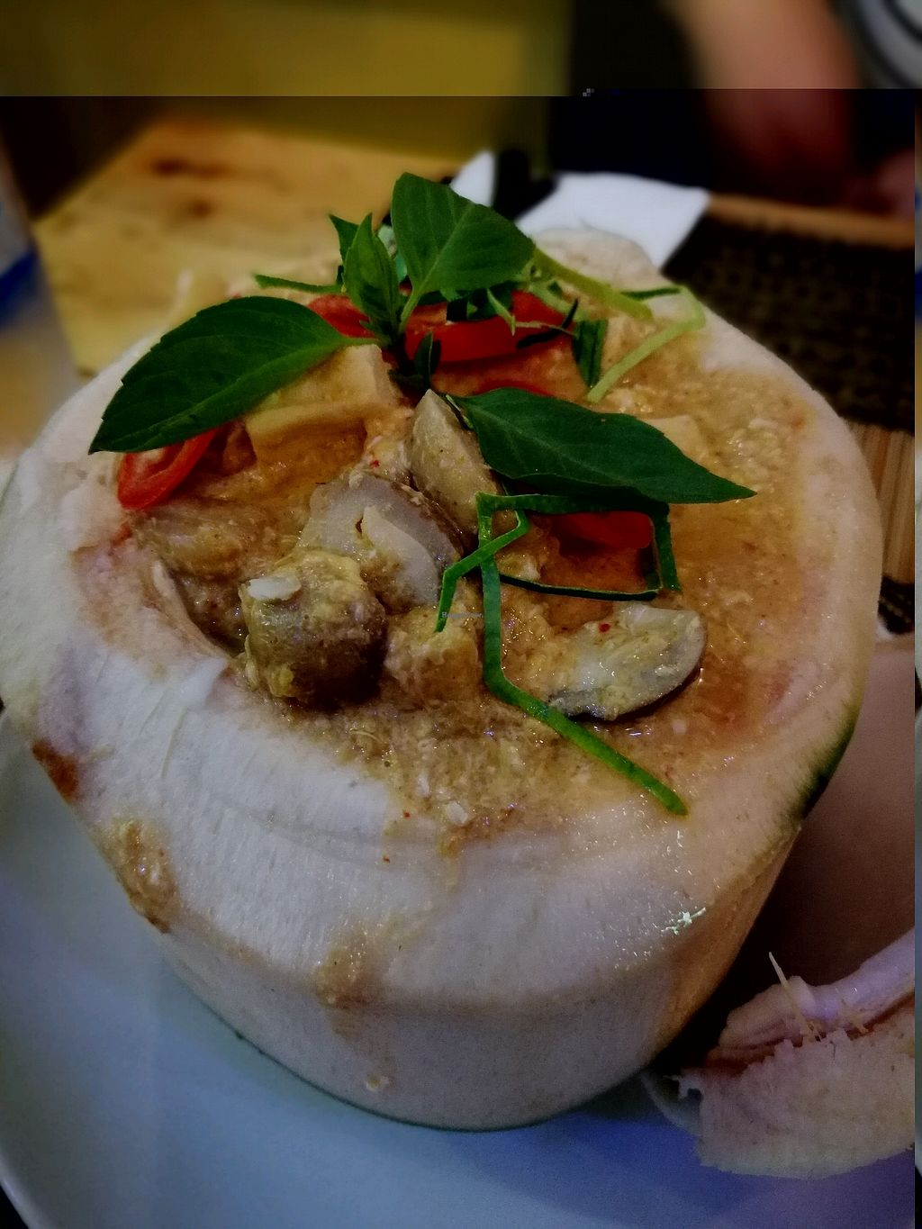 """Photo of Taste from Heaven  by <a href=""""/members/profile/PatrickTunhapong"""">PatrickTunhapong</a> <br/>Steam Tofu Curry in coconut shell <br/> January 2, 2018  - <a href='/contact/abuse/image/14253/342085'>Report</a>"""