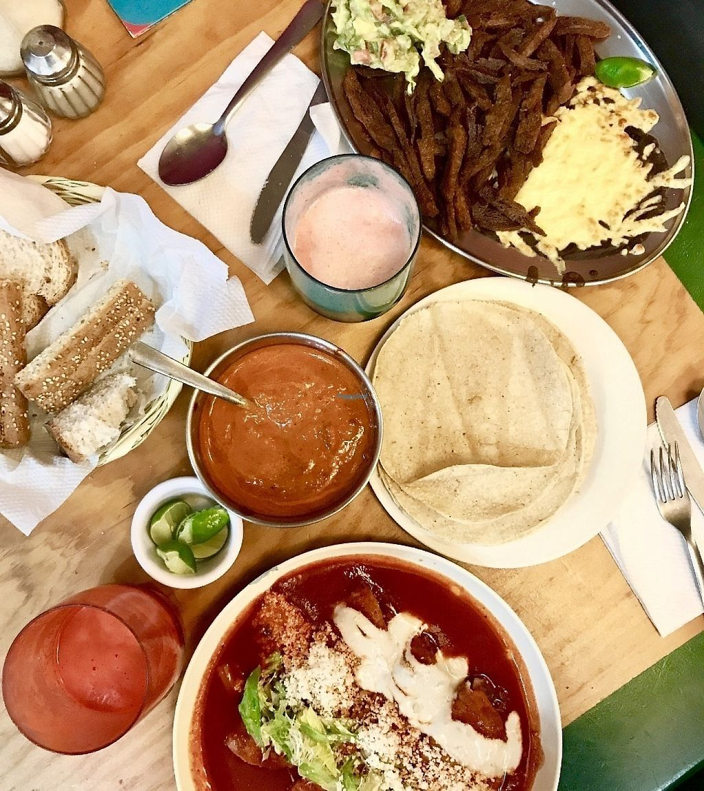 "Photo of Yug  by <a href=""/members/profile/PaigeBuda"">PaigeBuda</a> <br/>Enchiladas and Soy Carnitas. Beet & Strawberry Juice! Yum! <br/> April 21, 2017  - <a href='/contact/abuse/image/1430/250420'>Report</a>"