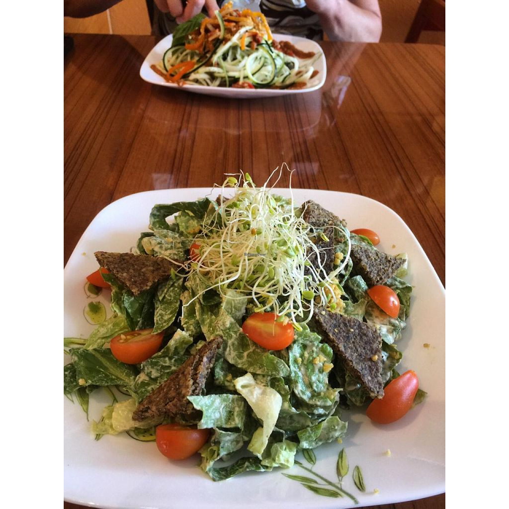 """Photo of Leafy Greens Cafe  by <a href=""""/members/profile/GenevaJohnson"""">GenevaJohnson</a> <br/>Cesar salad and the zucchini pasta.  <br/> May 18, 2015  - <a href='/contact/abuse/image/14358/102659'>Report</a>"""