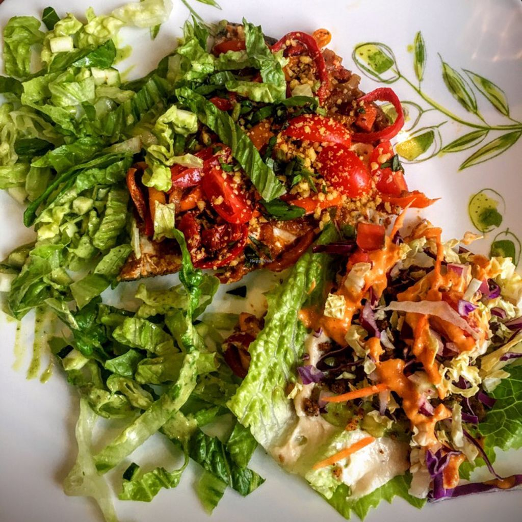 """Photo of Leafy Greens Cafe  by <a href=""""/members/profile/the_chill_banana"""">the_chill_banana</a> <br/>left: pizza, right: taco <br/> June 9, 2016  - <a href='/contact/abuse/image/14358/153116'>Report</a>"""